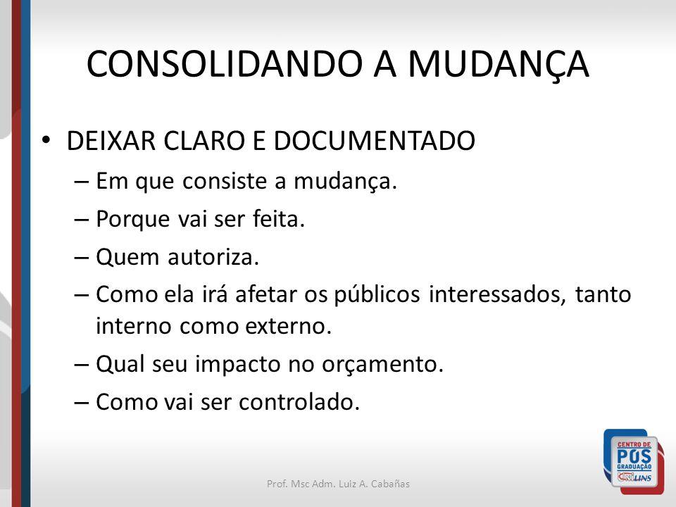 Prof. Msc Adm. Luiz A. Cabañas CONSOLIDANDO A MUDANÇA DEIXAR CLARO E DOCUMENTADO – Em que consiste a mudança. – Porque vai ser feita. – Quem autoriza.