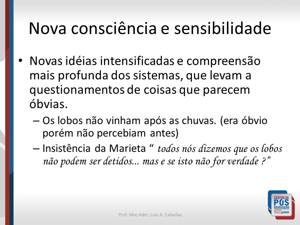 Prof. Msc Adm. Luiz A. Cabañas Nova consciência e sensibilidade Novas idéias intensificadas e compreensão mais profunda dos sistemas, que levam a ques