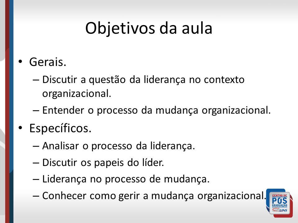 Objetivos da aula Gerais. – Discutir a questão da liderança no contexto organizacional. – Entender o processo da mudança organizacional. Específicos.