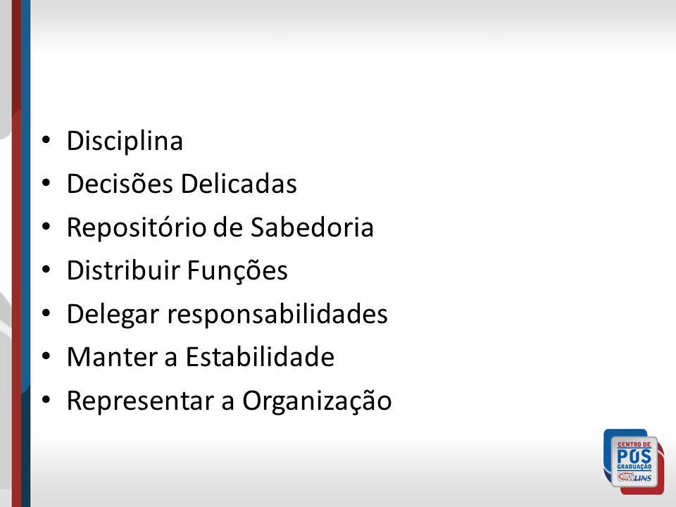 Disciplina Decisões Delicadas Repositório de Sabedoria Distribuir Funções Delegar responsabilidades Manter a Estabilidade Representar a Organização