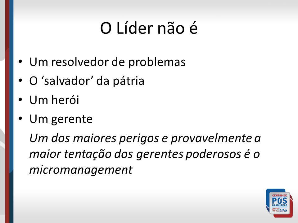O Líder não é Um resolvedor de problemas O salvador da pátria Um herói Um gerente Um dos maiores perigos e provavelmente a maior tentação dos gerentes