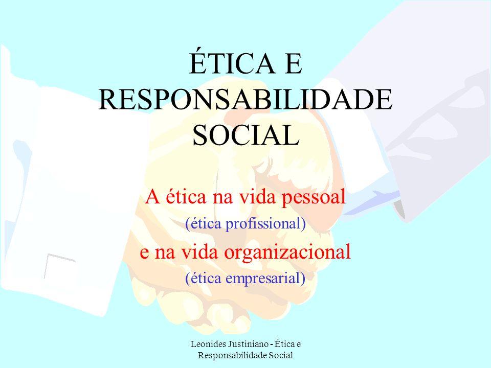 Leonides Justiniano - Ética e Responsabilidade Social CÓDIGO DE ÉTICA Nada mais é do que a declaração formal das expectativas da empresa à conduta de seus executivos e demais funcionários.