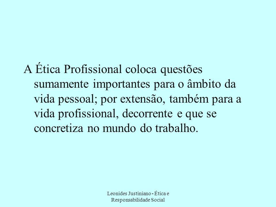 A Ética Profissional coloca questões sumamente importantes para o âmbito da vida pessoal; por extensão, também para a vida profissional, decorrente e que se concretiza no mundo do trabalho.