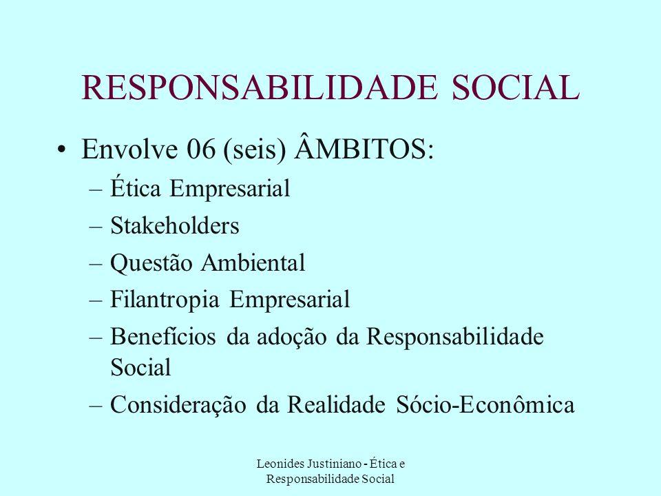 Leonides Justiniano - Ética e Responsabilidade Social RESPONSABILIDADE SOCIAL Participa do conceito de desenvolvimento sustentável, compreendendo : –d