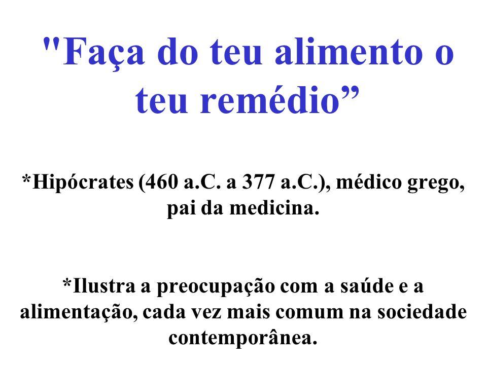 *Hipócrates (460 a.C. a 377 a.C.), médico grego, pai da medicina. *Ilustra a preocupação com a saúde e a alimentação, cada vez mais comum na sociedade