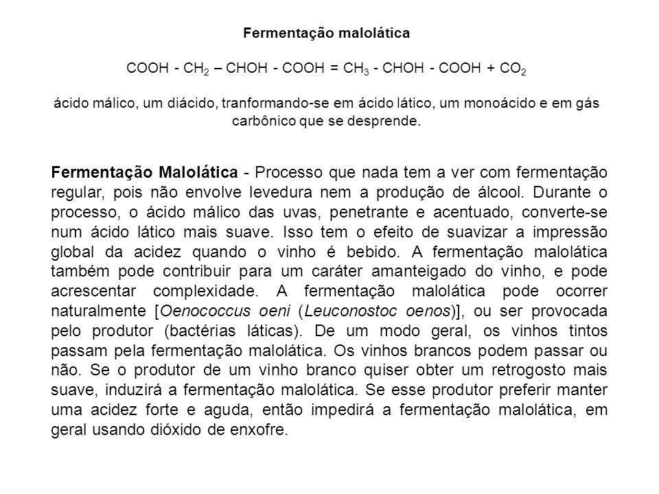 Fermentação Malolática - Processo que nada tem a ver com fermentação regular, pois não envolve levedura nem a produção de álcool. Durante o processo,