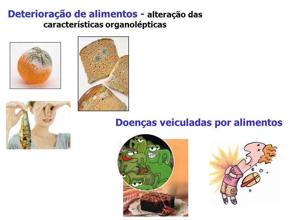 Deterioração de alimentos - alteração das características organolépticas Doenças veiculadas por alimentos