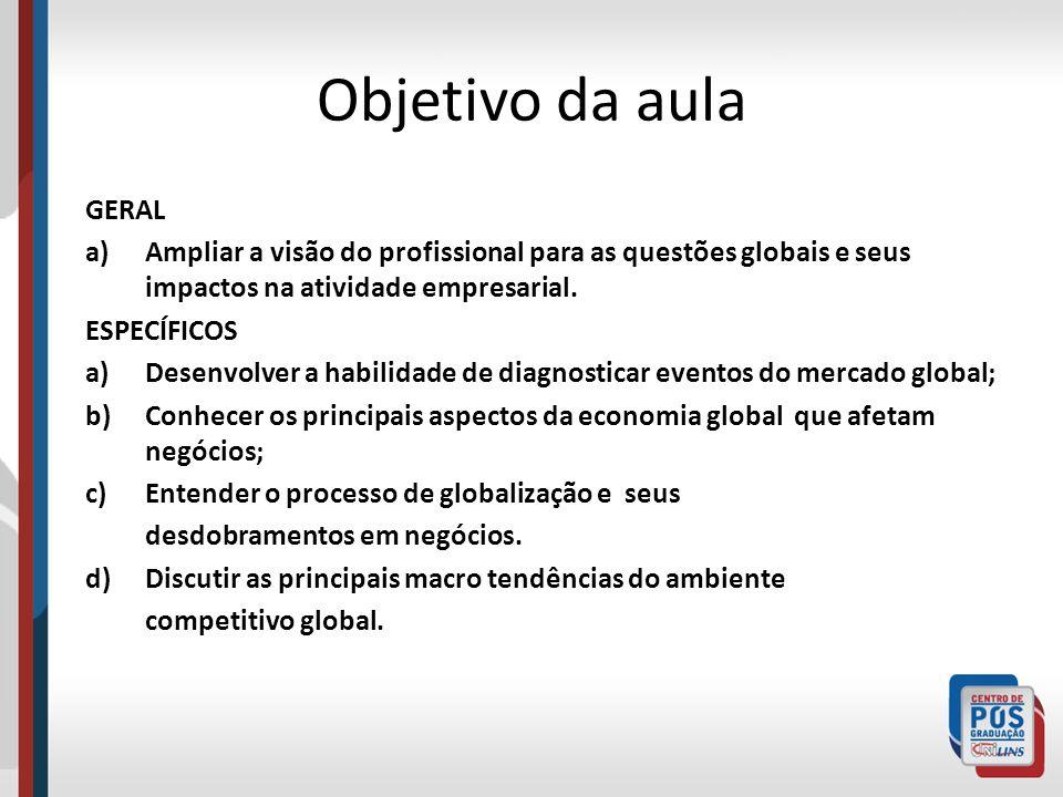 Objetivo da aula GERAL a)Ampliar a visão do profissional para as questões globais e seus impactos na atividade empresarial. ESPECÍFICOS a)Desenvolver