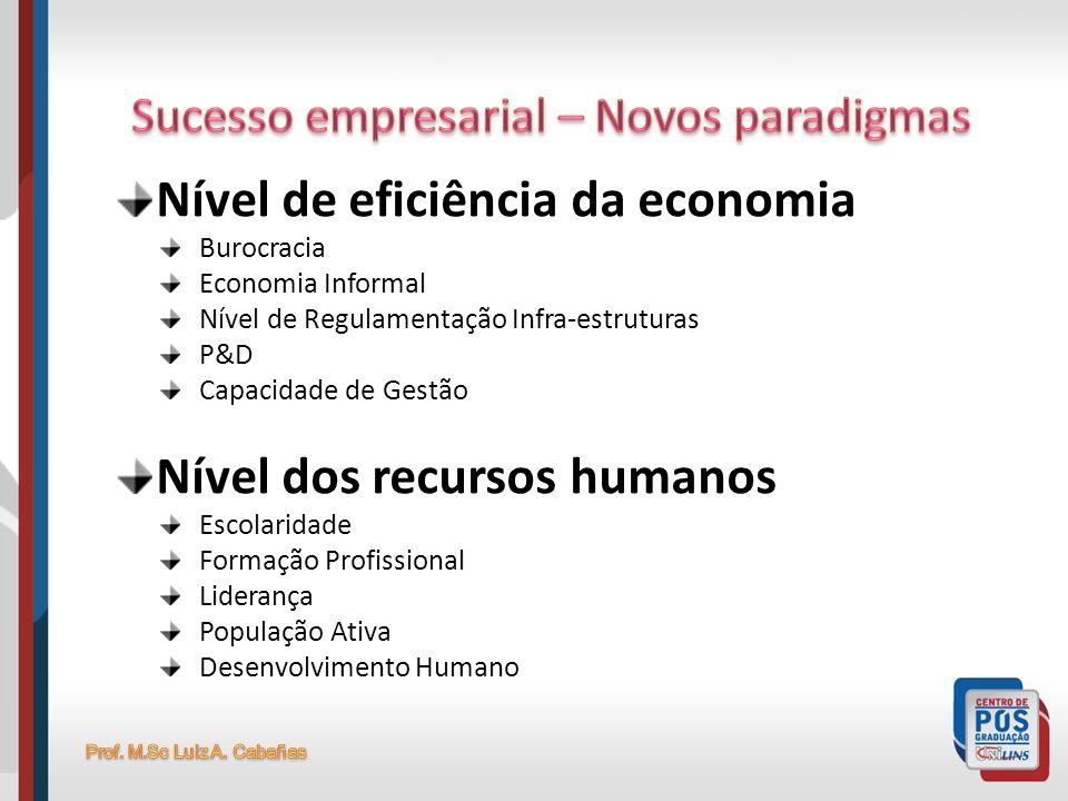 Nível de eficiência da economia Burocracia Economia Informal Nível de Regulamentação Infra-estruturas P&D Capacidade de Gestão Nível dos recursos huma
