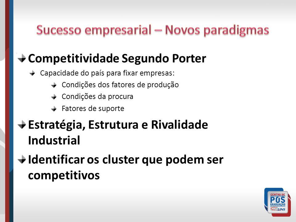 Competitividade Segundo Porter Capacidade do país para fixar empresas: Condições dos fatores de produção Condições da procura Fatores de suporte Estra