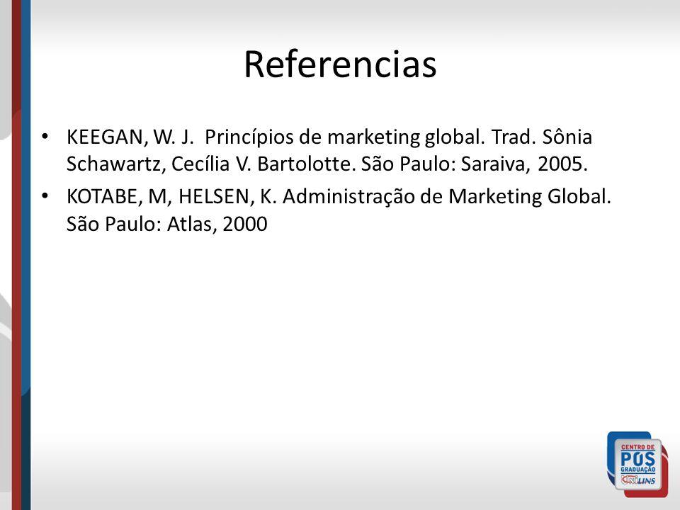 Referencias KEEGAN, W. J. Princípios de marketing global. Trad. Sônia Schawartz, Cecília V. Bartolotte. São Paulo: Saraiva, 2005. KOTABE, M, HELSEN, K