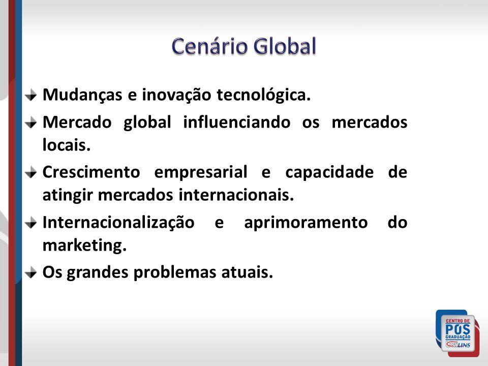 Mudanças e inovação tecnológica. Mercado global influenciando os mercados locais. Crescimento empresarial e capacidade de atingir mercados internacion