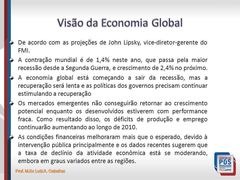De acordo com as projeções de John Lipsky, vice-diretor-gerente do FMI. A contração mundial é de 1,4% neste ano, que passa pela maior recessão desde a
