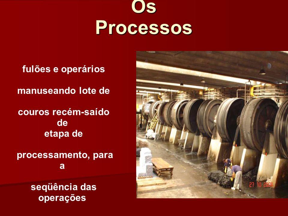 Os Processos fulões e operários manuseando lote de couros recém-saído de etapa de processamento, para a seqüência das operações