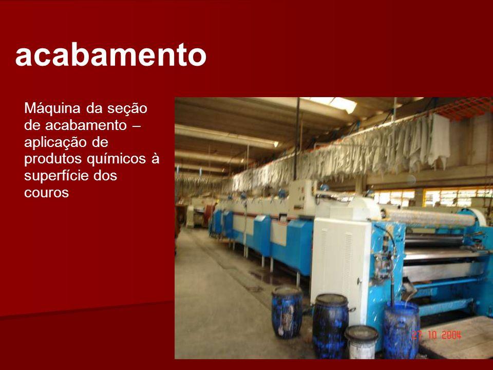 Máquina da seção de acabamento – aplicação de produtos químicos à superfície dos couros acabamento