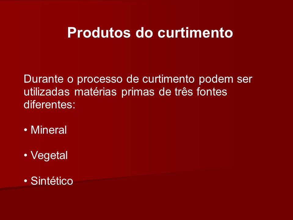 Produtos do curtimento Durante o processo de curtimento podem ser utilizadas matérias primas de três fontes diferentes: Mineral Vegetal Sintético