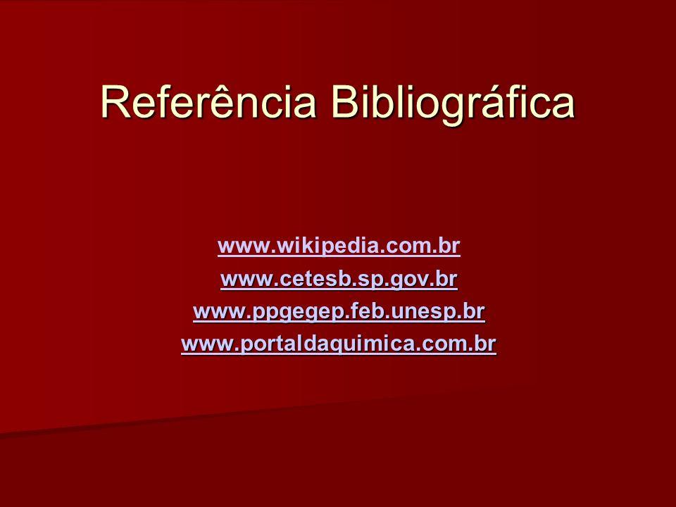 Referência Bibliográfica www.wikipedia.com.br www.cetesb.sp.gov.br www.ppgegep.feb.unesp.br www.portaldaquimica.com.br
