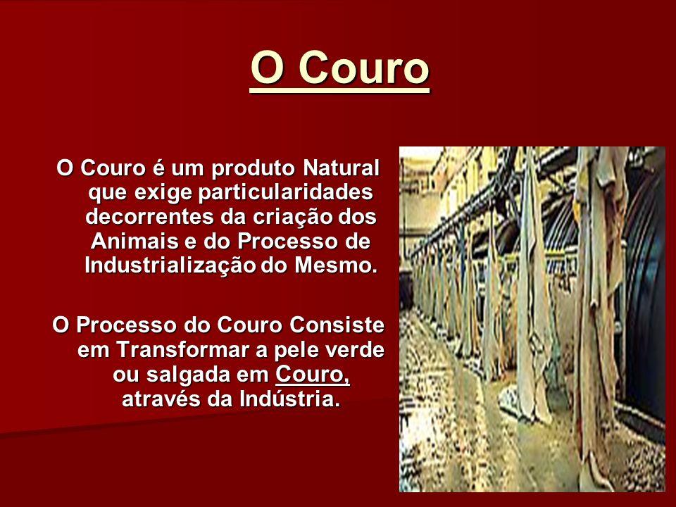 O Couro O Couro é um produto Natural que exige particularidades decorrentes da criação dos Animais e do Processo de Industrialização do Mesmo. O Proce