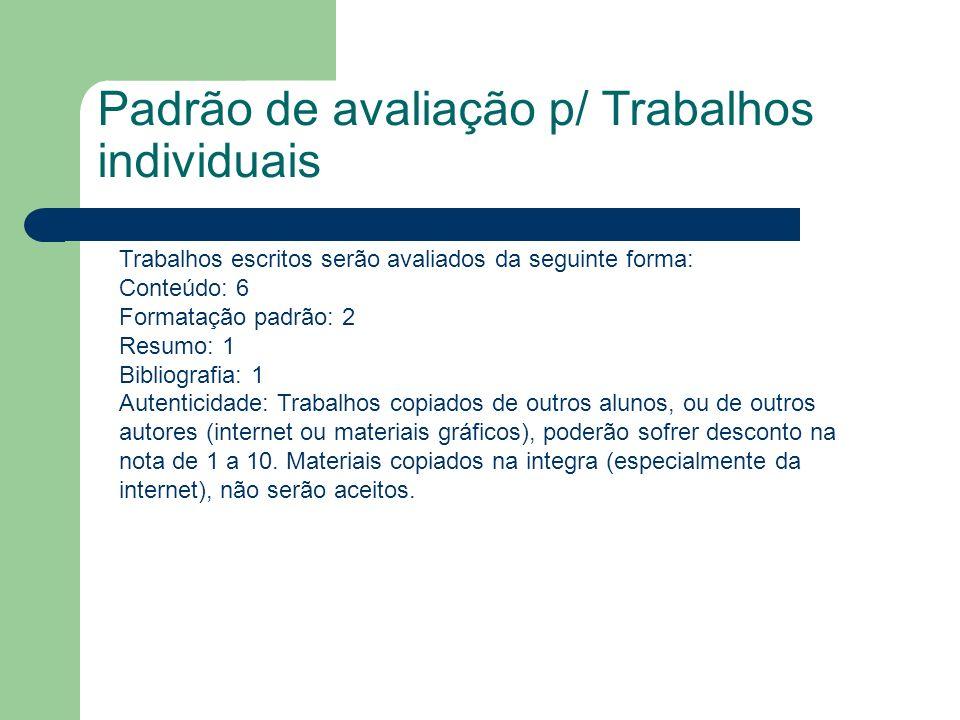 Padrão de avaliação p/ Trabalhos individuais Trabalhos escritos serão avaliados da seguinte forma: Conteúdo: 6 Formatação padrão: 2 Resumo: 1 Bibliogr