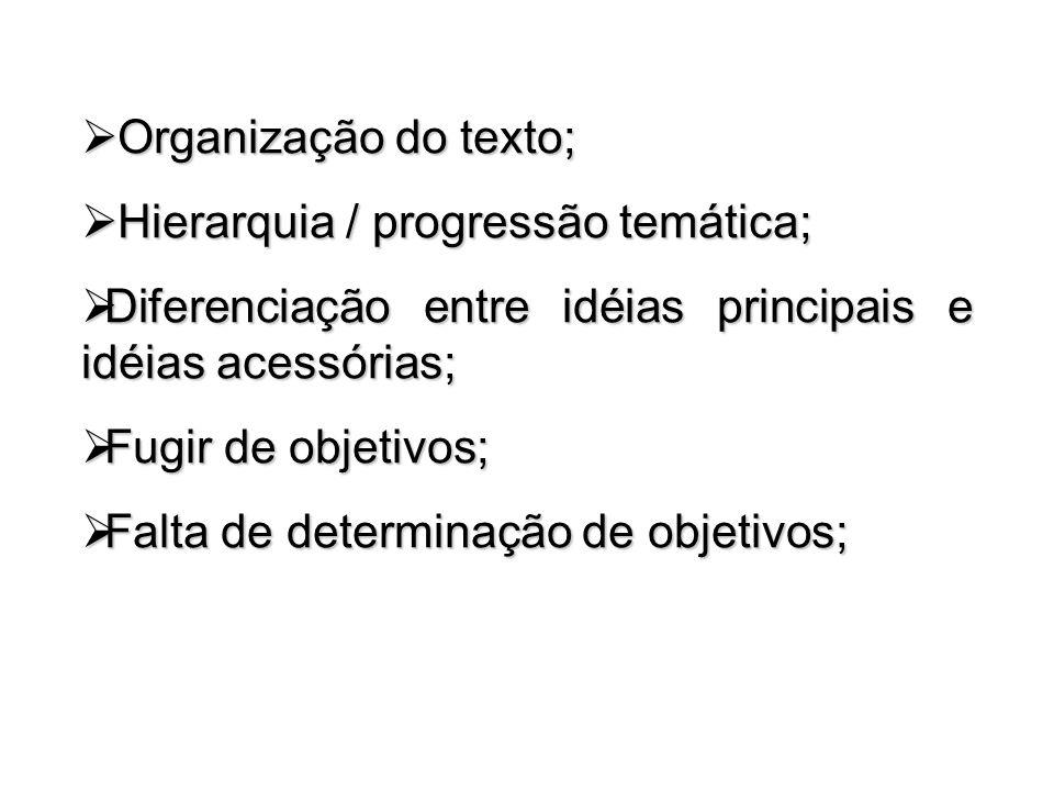 Organização do texto; Organização do texto; Hierarquia / progressão temática; Hierarquia / progressão temática; Diferenciação entre idéias principais