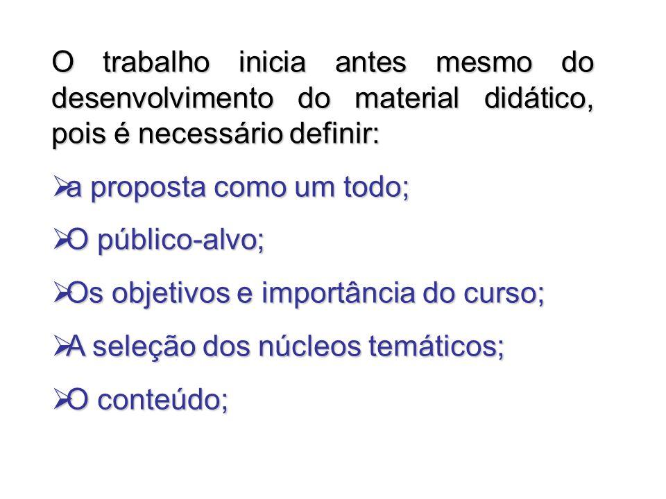 O trabalho inicia antes mesmo do desenvolvimento do material didático, pois é necessário definir: a proposta como um todo; a proposta como um todo; O