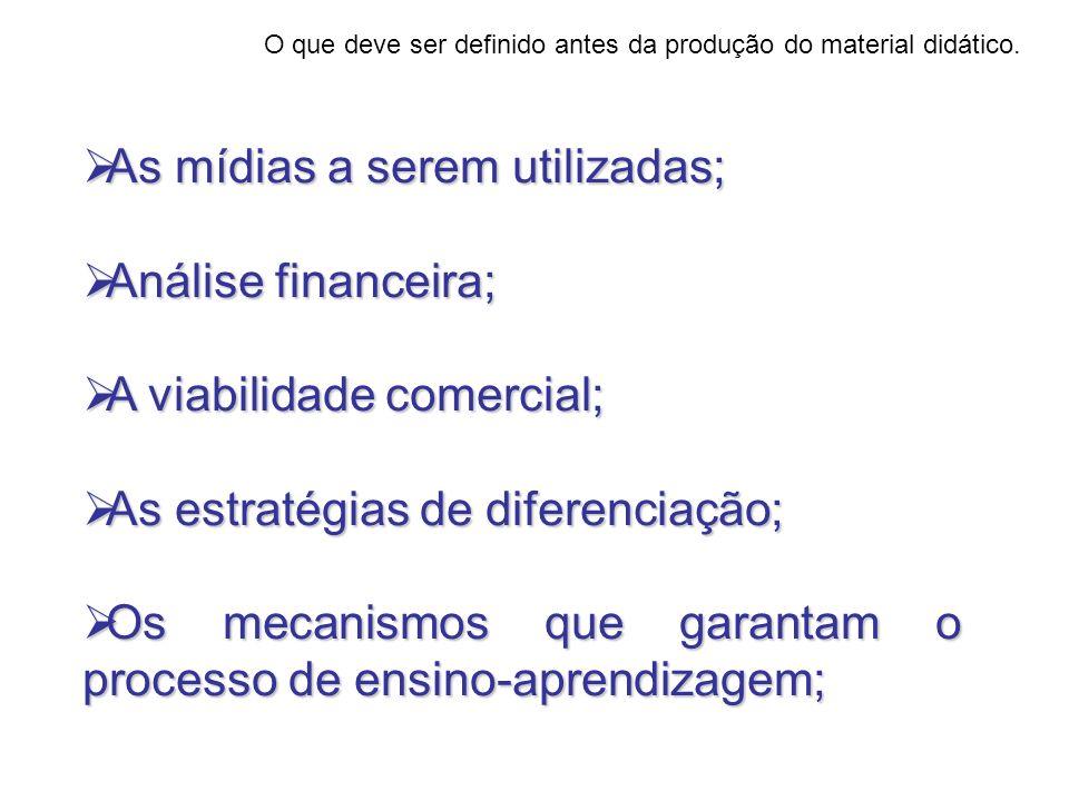 As mídias a serem utilizadas; As mídias a serem utilizadas; Análise financeira; Análise financeira; A viabilidade comercial; A viabilidade comercial;