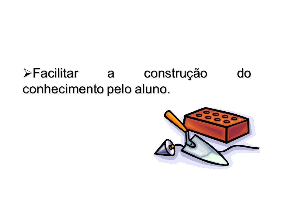 Facilitar a construção do conhecimento pelo aluno. Facilitar a construção do conhecimento pelo aluno.