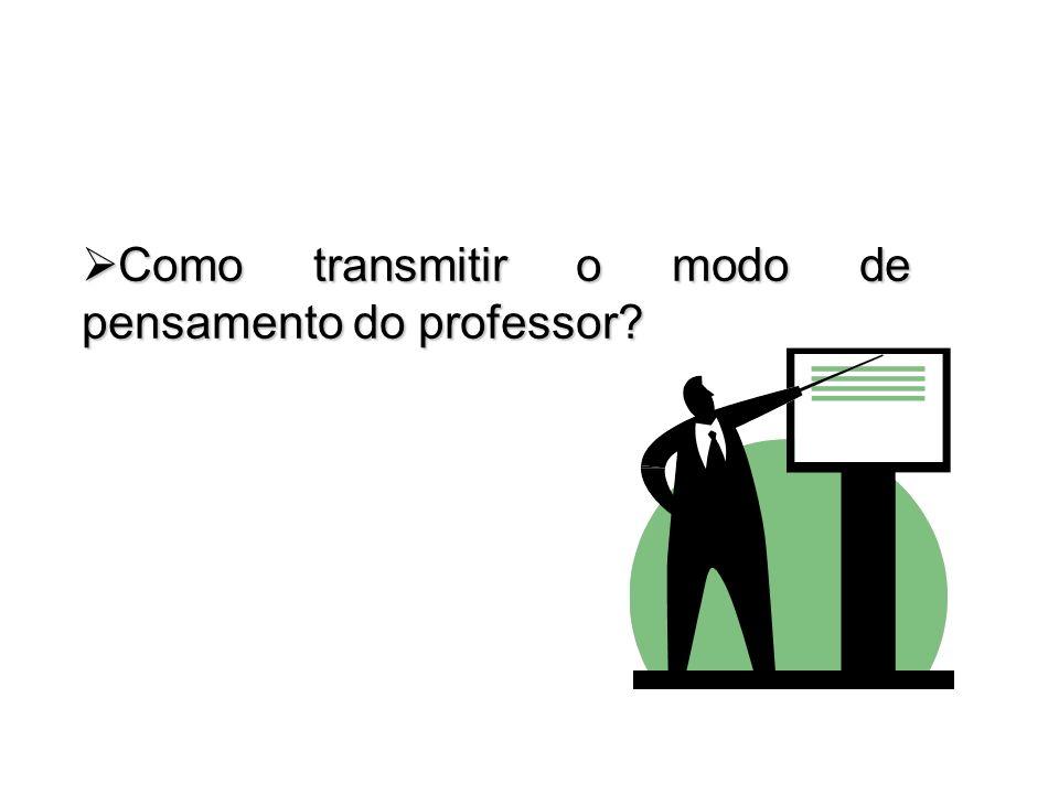 Como transmitir o modo de pensamento do professor? Como transmitir o modo de pensamento do professor?