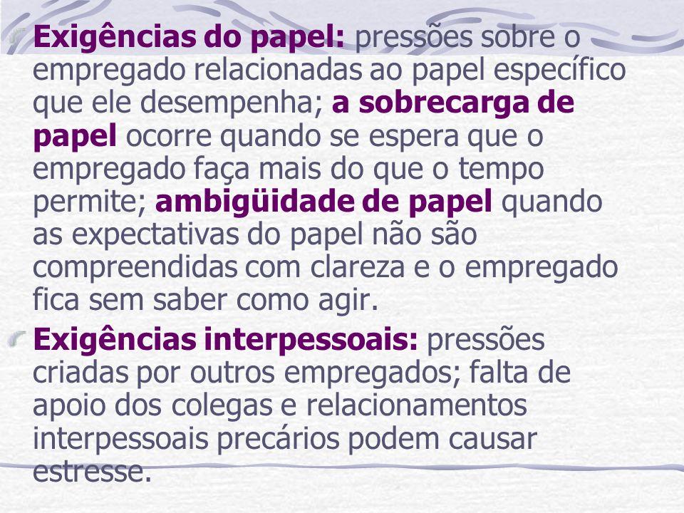 Exigências do papel: pressões sobre o empregado relacionadas ao papel específico que ele desempenha; a sobrecarga de papel ocorre quando se espera que