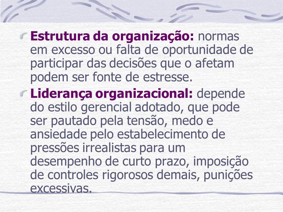 Estrutura da organização: normas em excesso ou falta de oportunidade de participar das decisões que o afetam podem ser fonte de estresse. Liderança or