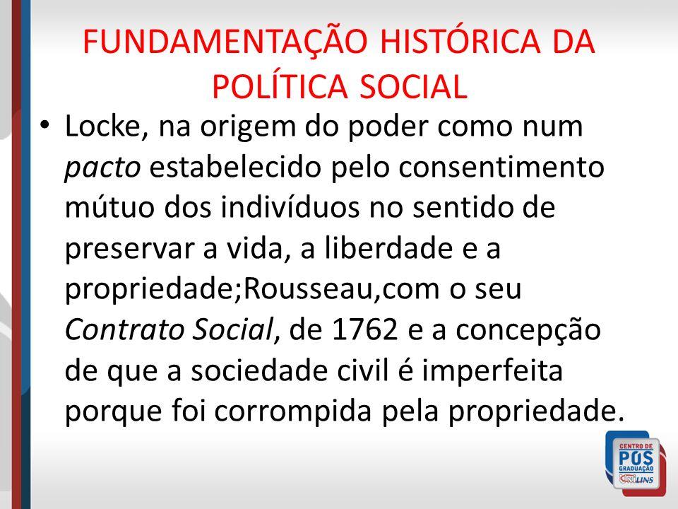 FUNDAMENTAÇÃO HISTÓRICA DA POLÍTICA SOCIAL Locke, na origem do poder como num pacto estabelecido pelo consentimento mútuo dos indivíduos no sentido de