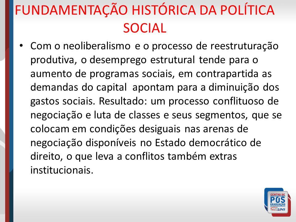 FUNDAMENTAÇÃO HISTÓRICA DA POLÍTICA SOCIAL Com o neoliberalismo e o processo de reestruturação produtiva, o desemprego estrutural tende para o aumento