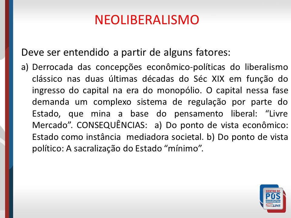 NEOLIBERALISMO Deve ser entendido a partir de alguns fatores: a)Derrocada das concepções econômico-políticas do liberalismo clássico nas duas últimas