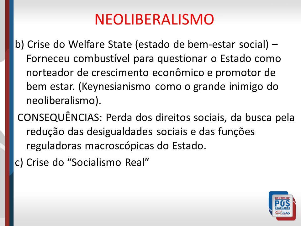 NEOLIBERALISMO b) Crise do Welfare State (estado de bem-estar social) – Forneceu combustível para questionar o Estado como norteador de crescimento ec