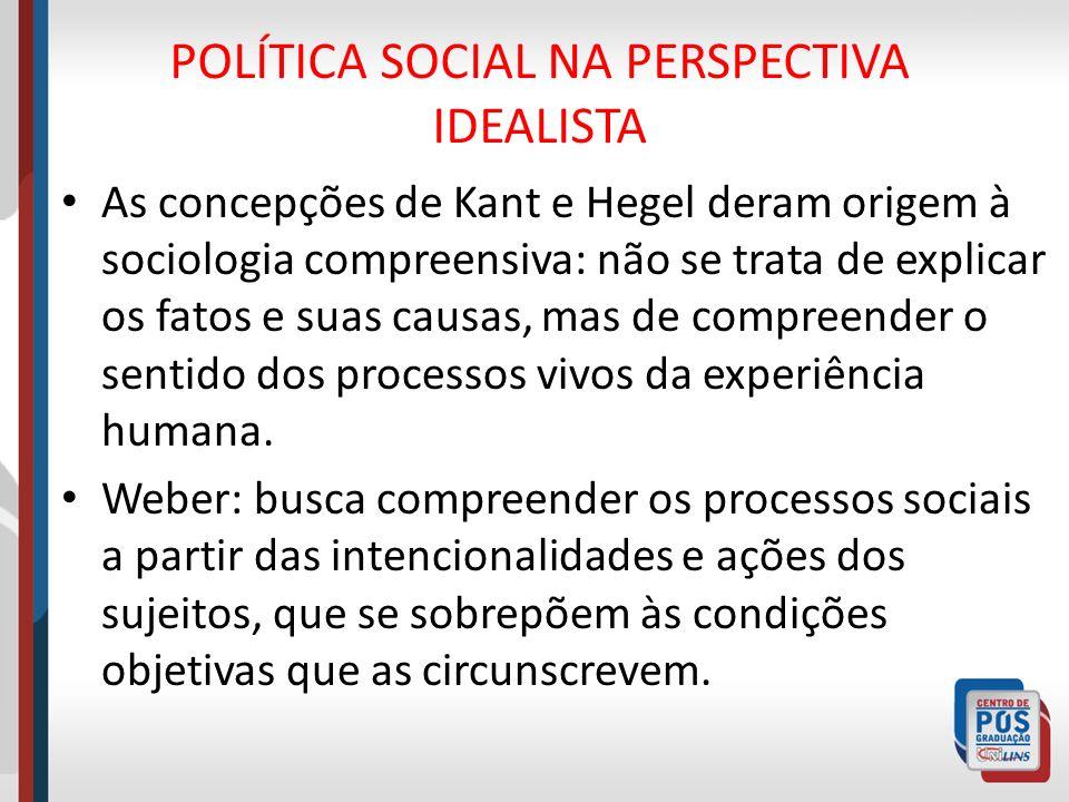 POLÍTICA SOCIAL NA PERSPECTIVA IDEALISTA As concepções de Kant e Hegel deram origem à sociologia compreensiva: não se trata de explicar os fatos e sua
