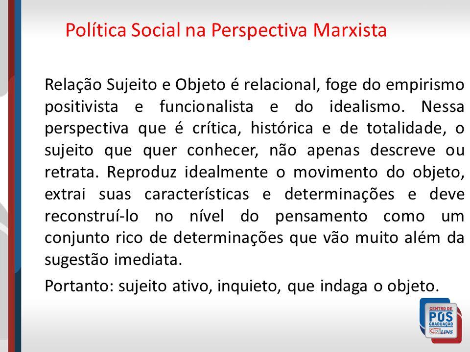 Política Social na Perspectiva Marxista Relação Sujeito e Objeto é relacional, foge do empirismo positivista e funcionalista e do idealismo. Nessa per