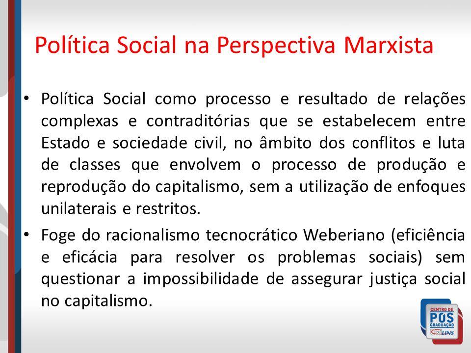 Política Social na Perspectiva Marxista Política Social como processo e resultado de relações complexas e contraditórias que se estabelecem entre Esta