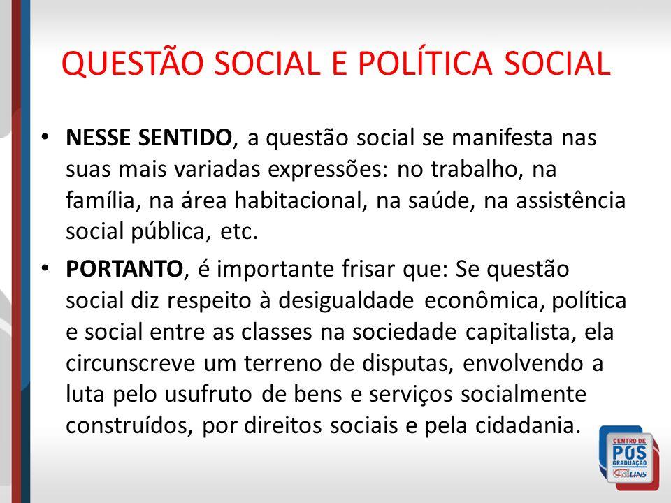 QUESTÃO SOCIAL E POLÍTICA SOCIAL NESSE SENTIDO, a questão social se manifesta nas suas mais variadas expressões: no trabalho, na família, na área habi