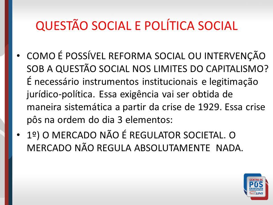 QUESTÃO SOCIAL E POLÍTICA SOCIAL COMO É POSSÍVEL REFORMA SOCIAL OU INTERVENÇÃO SOB A QUESTÃO SOCIAL NOS LIMITES DO CAPITALISMO? É necessário instrumen