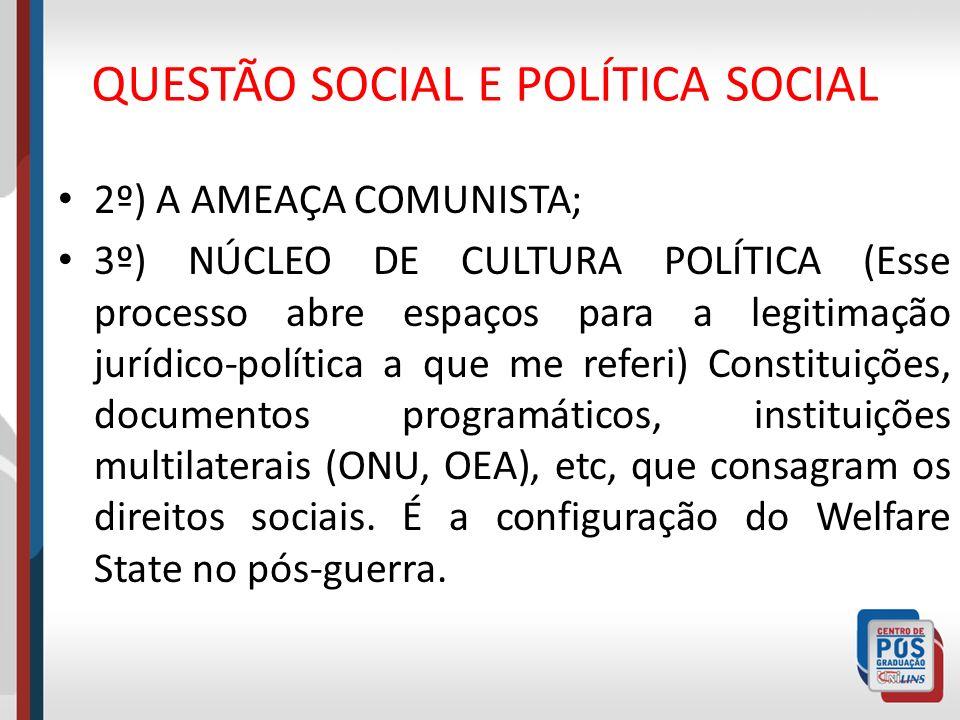 QUESTÃO SOCIAL E POLÍTICA SOCIAL 2º) A AMEAÇA COMUNISTA; 3º) NÚCLEO DE CULTURA POLÍTICA (Esse processo abre espaços para a legitimação jurídico-políti