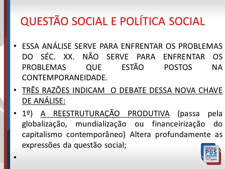 QUESTÃO SOCIAL E POLÍTICA SOCIAL ESSA ANÁLISE SERVE PARA ENFRENTAR OS PROBLEMAS DO SÉC. XX. NÃO SERVE PARA ENFRENTAR OS PROBLEMAS QUE ESTÃO POSTOS NA