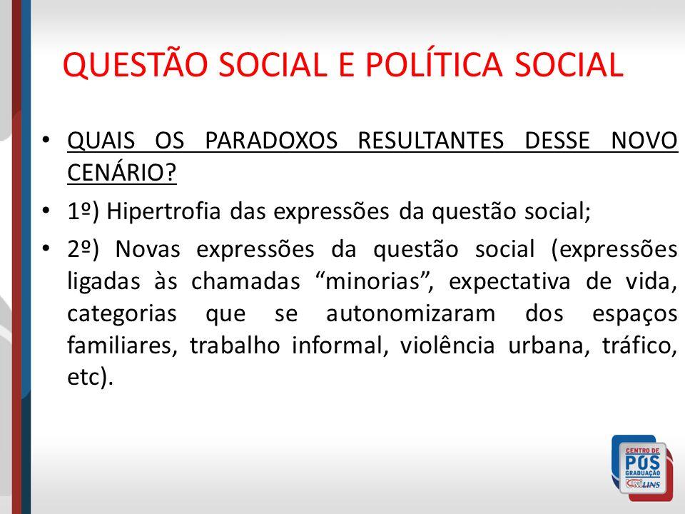 QUESTÃO SOCIAL E POLÍTICA SOCIAL QUAIS OS PARADOXOS RESULTANTES DESSE NOVO CENÁRIO? 1º) Hipertrofia das expressões da questão social; 2º) Novas expres