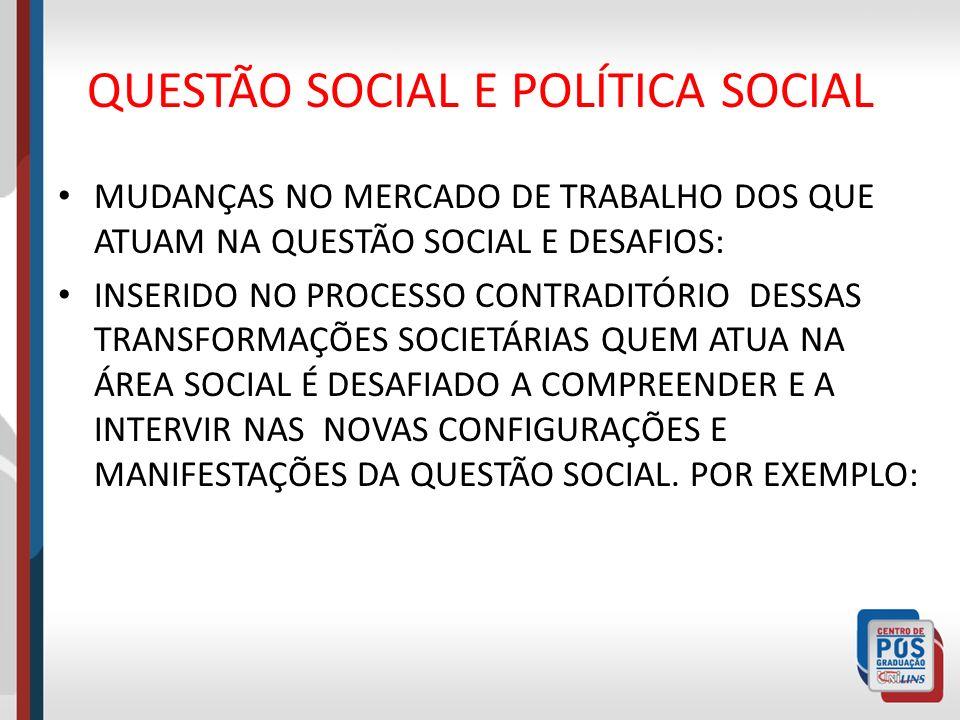 QUESTÃO SOCIAL E POLÍTICA SOCIAL MUDANÇAS NO MERCADO DE TRABALHO DOS QUE ATUAM NA QUESTÃO SOCIAL E DESAFIOS: INSERIDO NO PROCESSO CONTRADITÓRIO DESSAS