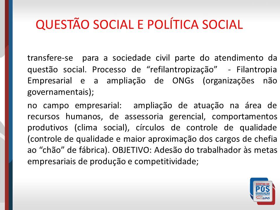 QUESTÃO SOCIAL E POLÍTICA SOCIAL transfere-se para a sociedade civil parte do atendimento da questão social. Processo de refilantropização - Filantrop