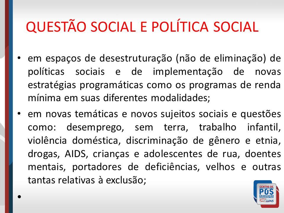 QUESTÃO SOCIAL E POLÍTICA SOCIAL em espaços de desestruturação (não de eliminação) de políticas sociais e de implementação de novas estratégias progra