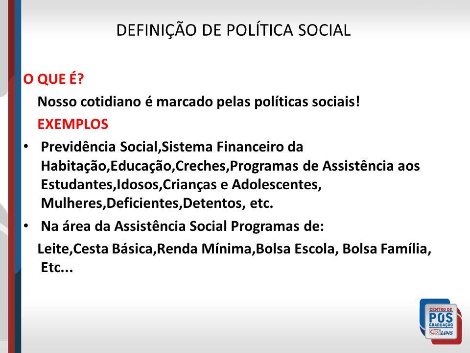 DEFINIÇÃO DE POLÍTICA SOCIAL O QUE É? Nosso cotidiano é marcado pelas políticas sociais! EXEMPLOS Previdência Social,Sistema Financeiro da Habitação,E