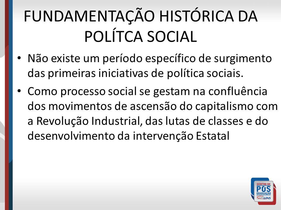 FUNDAMENTAÇÃO HISTÓRICA DA POLÍTCA SOCIAL Não existe um período específico de surgimento das primeiras iniciativas de política sociais. Como processo