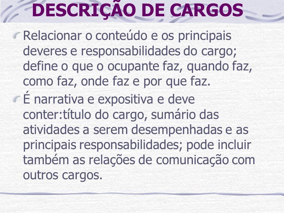 DESCRIÇÃO DE CARGOS Relacionar o conteúdo e os principais deveres e responsabilidades do cargo; define o que o ocupante faz, quando faz, como faz, ond