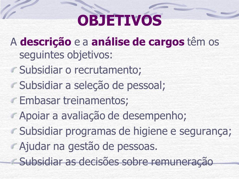 OBJETIVOS A descrição e a análise de cargos têm os seguintes objetivos: Subsidiar o recrutamento; Subsidiar a seleção de pessoal; Embasar treinamentos