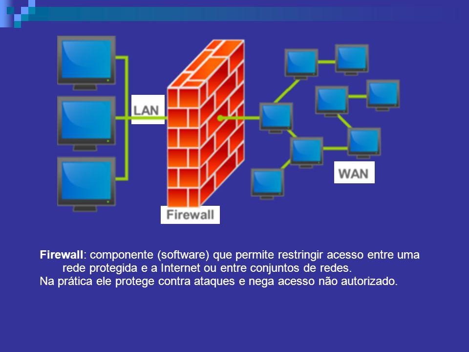 Firewall: componente (software) que permite restringir acesso entre uma rede protegida e a Internet ou entre conjuntos de redes. Na prática ele proteg
